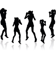 Boxer woman silhouette vector