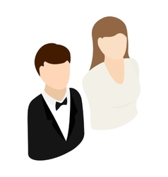 Bride and groom isometric 3d icon vector image