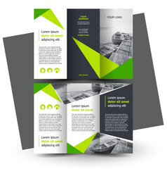brochure design template creative tri-fold green vector image