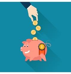 Businessman dropping coins into a piggy bank vector image