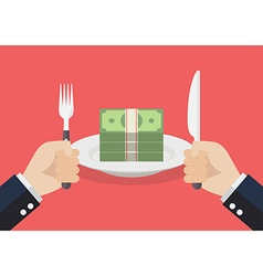 Businessman eating banknotes vector