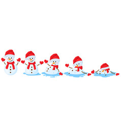 Cartoon melted snowman snowmen melting stages vector