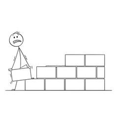 Cartoon of mason or bricklayer building a wall vector