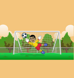 Cartoon soccer goalkeeper on soccer field vector