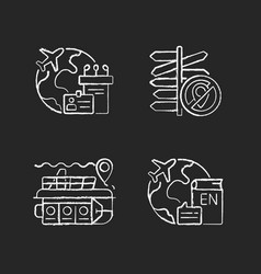 categories travel chalk white icons set on vector image