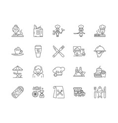 catering company line icons signs set vector image