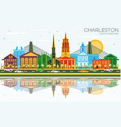 Charleston south carolina city skyline with color vector