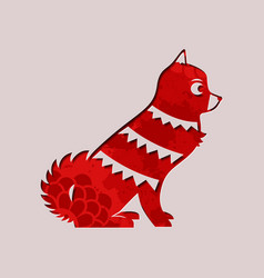 chinese new year 2018 paper cut red dog vector image