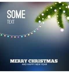 Christmas background with lights Christmas tree vector image