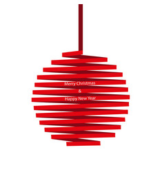 christmas ball made of red ribbon isolated on whit vector image