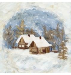 Christmas Landscape Village Houses vector