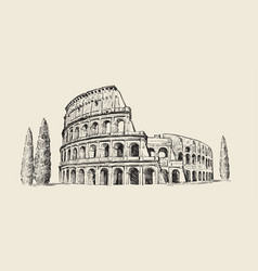 coliseum in italy hand drawn rome famous vector image