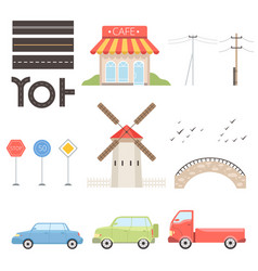 collection of urban or rural landscape constructor vector image
