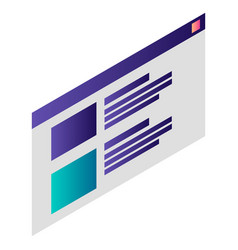 Computer work window icon isometric style vector