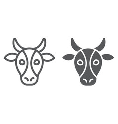 Cow line and glyph icon animal and zoo vector