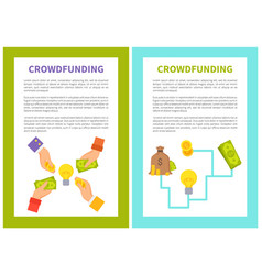 crowdfunding poster icons set vector image