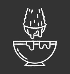 Cut aloe vera sprout chalk white icon on black vector