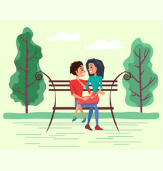 dating couple on bench in summer time vector image