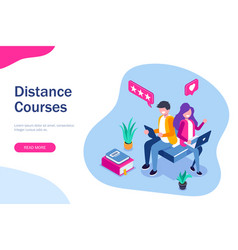 distance courses isometric concept e-learning vector image