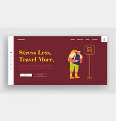 elderly man backpacker waiting bus website landing vector image