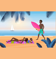 family summer tourism travel vacation on tropical vector image