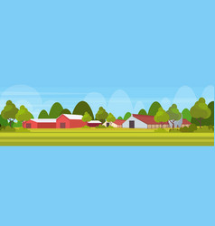 farm house modern barn building exterior field vector image
