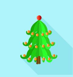 festive xmas tree icon flat style vector image