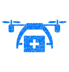 First aid drone grunge icon vector