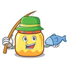 Fishing cream jar mascot cartoon vector