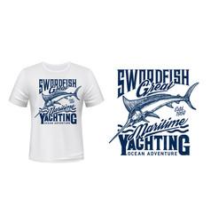 fishing yachting t-shirt print with blue marlin vector image