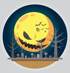 Flat design halloween graveyard vector