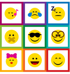 Flat icon expression set of caress pleasant vector