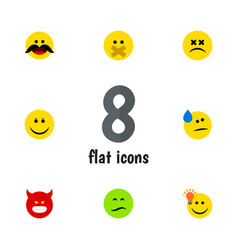 Flat icon face set of frown joy cross-eyed face vector