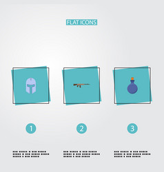 flat icons assault rifle flask warrior and other vector image