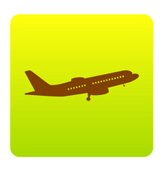 flying plane sign side view brown icon vector image
