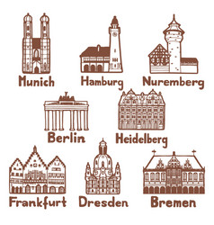 German famous landmarks set in hand drawn style vector