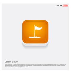 Golf flag icon orange abstract web button vector