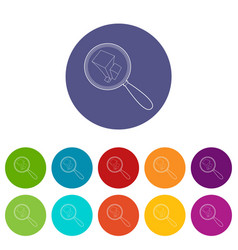 graph under magnifying glass icon outline style vector image