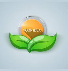 Green leaf - business banner glass nature icon vector