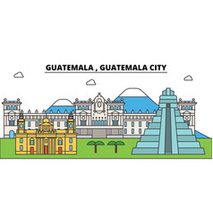 Guatemala city outline city skyline vector