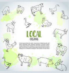 hand drawn farm animals background farming vector image