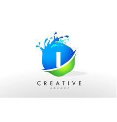 i letter logo blue green splash design vector image