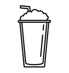 ice coffee cup icon outline style vector image