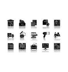 Inventory tracking drop shadow black glyph icons vector