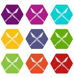 Japanese tanto daggersicon set color hexahedron vector