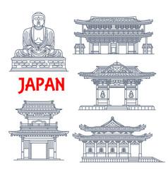 Japanese travel landmark thin line pagoda statue vector