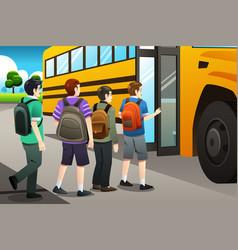 Kids getting on the school bus vector