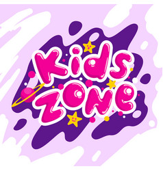 kids zone cartoon logo colorful bubble vector image