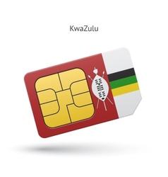 Kwazulu mobile phone sim card with flag vector