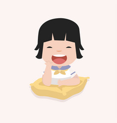 Little girl on a pillow vector